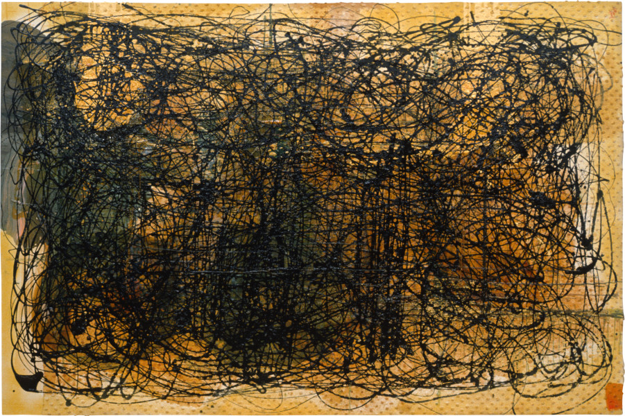 Dale Frank Gottoo, 1989-90; oil, Aquadhere, acrylic, varnish on cotton bedspread & canvas; 200 x 300 cm; enquire