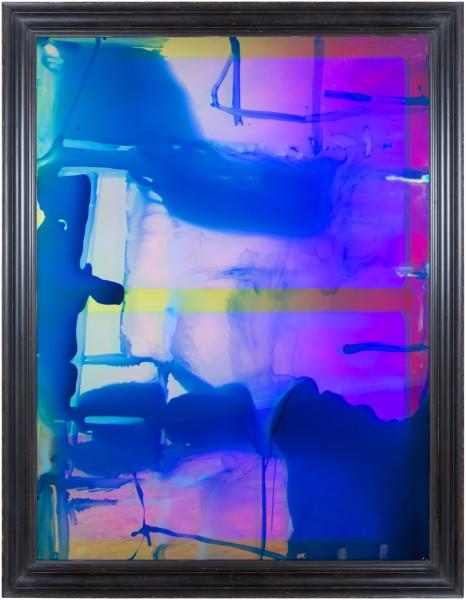 Dale Frank History For Lease 2, 2014; varnish, oil, lighter fluid on iridescent plexiglass ; 180 x 140 cm; 160 × 120cm (unframed); enquire