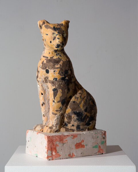 Linda Marrinon Leopard, 2016; tinted and painted plaster; 48 x 25 x 14 cm; Enquire
