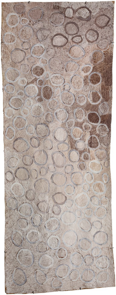 Nyapanyapa Yunupingu Circles, 2018; 4447-18; natural earth pigments on bark; 194 x 75 cm; Enquire