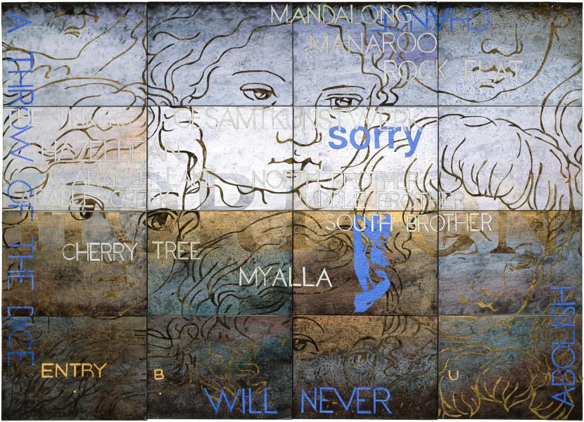 Imants Tillers Nature Speaks: BU, 2004; synthetic polymer paint, gouache on 16 canvasboards, 71854 - 71869; 101.6 x 142.2 cm; enquire