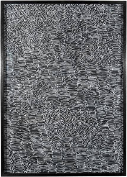 Nyapanyapa Yunupingu Untitled, 2012; 4305K - AC 6.6 Birrka'mirri; paint pen on clear acetate plastic; 86 x 61.5 cm; (framed); Enquire