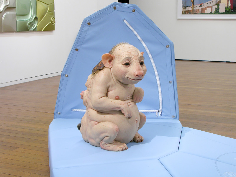 Patricia Piccinini Nature's Little Helpers — Surrogate (for the Northern Hairy Nosed Wombat), 2004; silicon, fibreglass, leather, plywood, hair; 120 x 350 x 350 cm; (approx overall dimensions); Edition of 3 + AP 1; enquire