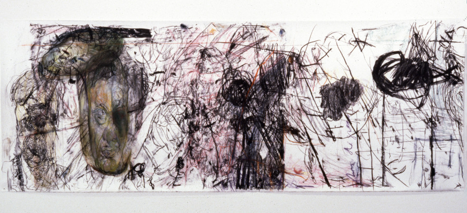 Mike Parr Dictatorships (Staretz), 1987; Girault pastel and charcoal on Stonehenge paper; 127.5 x 349 cm; enquire