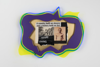 Brook Andrew This year, future leaving..., 2020; paper, wood, neon, acrylic; 56 x 70 x 9 cm; enquire