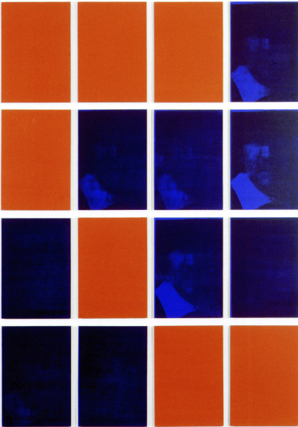 Lindy Lee Ulterior Function, 1993; Photocopy and acrylic on Stonehenge paper; 175 x 125 cm; 16 panels; enquire