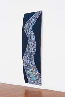 installation view; Dhambit Munuŋgurr Wandawuy, 2021; 5071-21; earth pigments and acrylic on bark; 293 x 101 cm; enquire