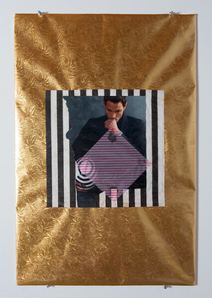 Jacqueline Fraser Valentino Looking at Daniel Buren at the Guggenheim NYC, 2013; Mixed media collage; 76 x 50.5 cm; enquire