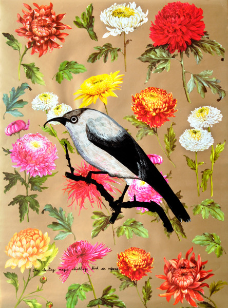 """Jacqueline Fraser 15. """"The darling magic whistling bird in repose"""", 2007; Silver metallic acrylic and black acrylic on Japanese floral paper; 65 x 48 cm; enquire"""