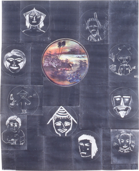 Geoff Lowe Asia Two, 1990; colour and black and white laser photocopy on rice paper; 162 x 131 cm; enquire