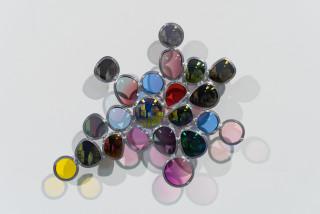 Jim Lambie Morning Glow, 2019; sunglass lens, lead came; 32 x 37 x 4.5 cm; enquire