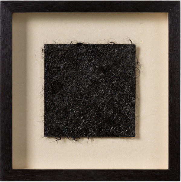 Kirtika Kain unfurls, 2019; tar, human hair, copper; 34 x 34 cm; enquire