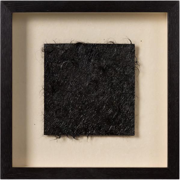 Kirtika Kain unfurls, 2019; tar, human hair, copper; 34 x 34 cm; Enquire