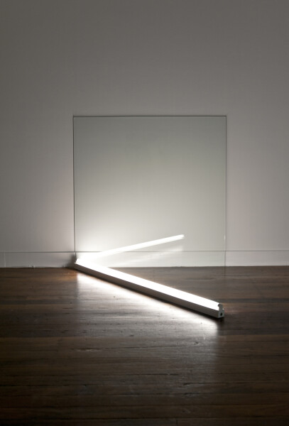 Bill Culbert Light going in 45 degrees, 2009; glass, fluorescent lights; 109 x 112 x 118 cm; enquire