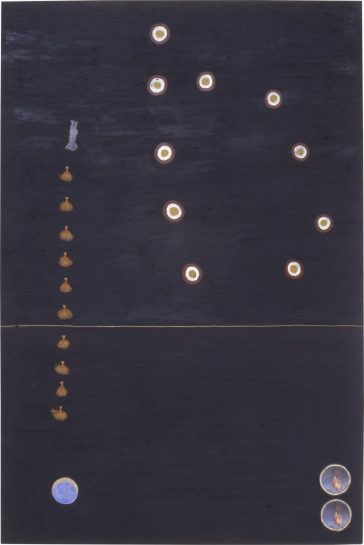 Fiona Foley Maradjirri - two, 1989; acrylic, pastel, pencil, collage and ink on paper; 152 x 102 cm; enquire