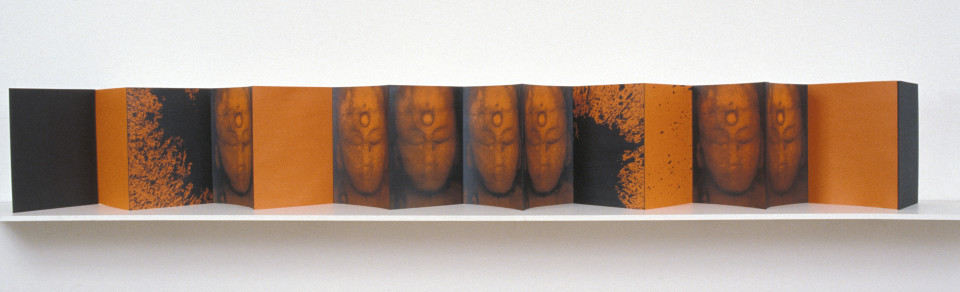 Lindy Lee Book of Kuan-yin, 2002; from the series Ten Worlds, Ten Directions; inkjet print and acrylic on Chinese accordion book; Variable; enquire