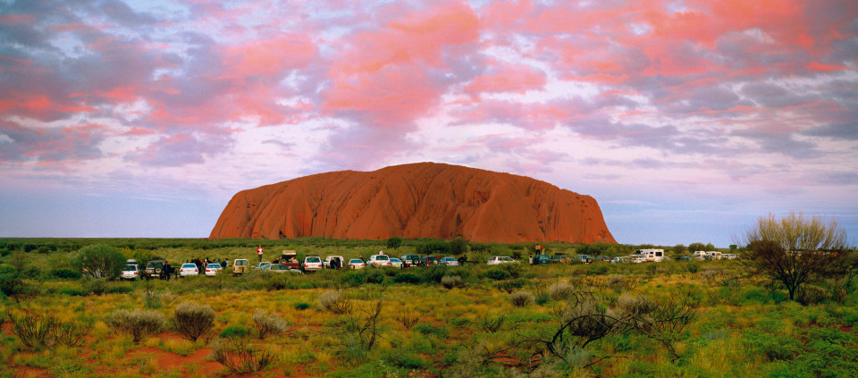 Anne Zahalka Sunset Viewing Area, Uluru, Northern Territory, 2004; type C photograph; 115 x 260 cm; Edition of 6; enquire