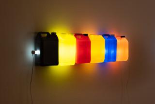 Bill Culbert Strait (Grey Yellow Red Orange Blue Orange), 2015; fluorescent light, plastic bottles; 30 x 120 x 12 cm; enquire