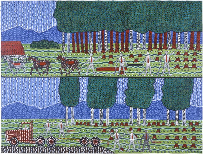 Robert Campbell Jnr Rape of the Cedar, 1987; acrylic on canvas; 91 x 120 cm; enquire