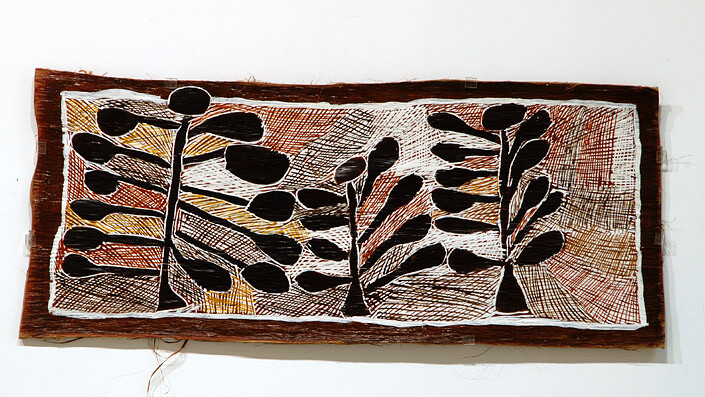 Nyapanyapa Yunupingu 3 Wild Apple Trees, 2008; natural earth pigments on bark; 40 x 94 cm; enquire