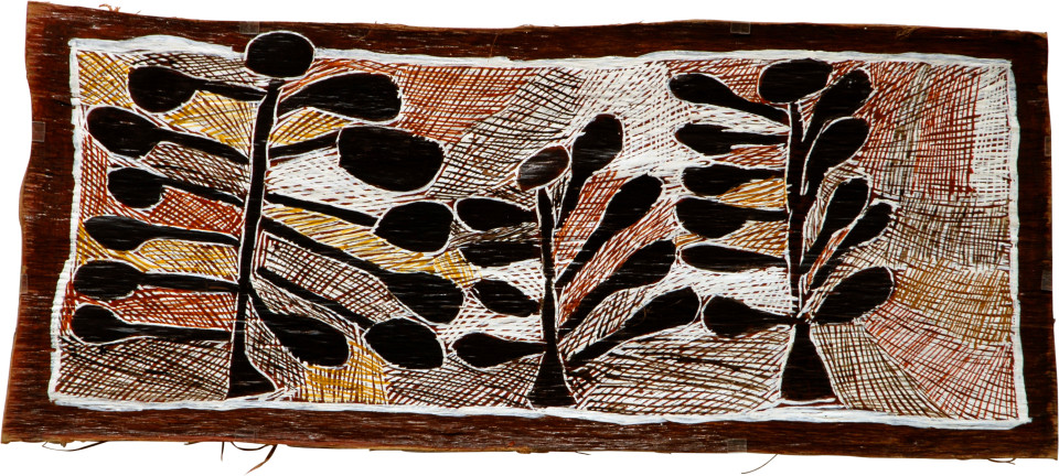 Nyapanyapa Yunupingu 3 Wild Apple Trees, 2008; natural earth pigments on bark; 40 x 94 cm; enquire
