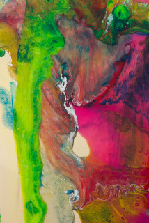Dale Frank Holiday Package (detail), 2020; powder pigments in resin, epoxyglass, on Perspex; 150 x 100 cm; enquire