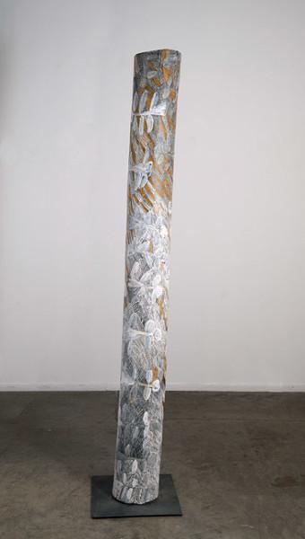 Nyapanyapa Yunupingu 27. Untitled, 2013; 4451H; natural earth pigments on hollow log; 204 x 21 x 21 cm; enquire