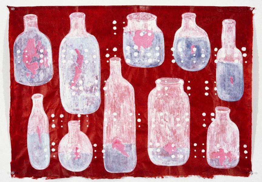 Fiona Hall Soverign Risk, 1997; gouache on Daphne paper; 56 x 80 cm; enquire