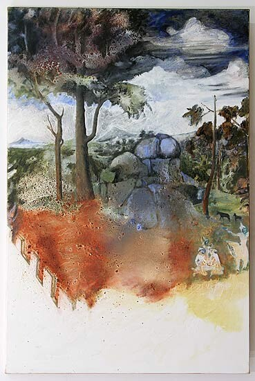 Mandy Martin Salvatore Rosa and Esam no. 1, 2006; oil, ochre, pigment on linen; 150 x 100 cm; enquire