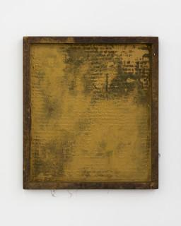 Kirtika Kain The Solar Line XIX, 2020; Oil paint, gold pigment, beeswax, disused silk screen; 67 x 59 cm; enquire
