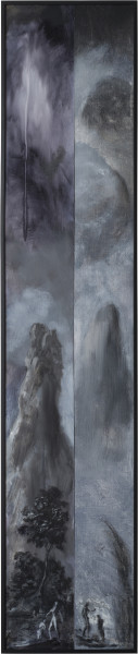 Tony Clark Two Fragmentary Sections from Clark's Myriorama with the Baptism of Jesus, 2014; oil on canvas; 204 x 43 cm; (framed); enquire