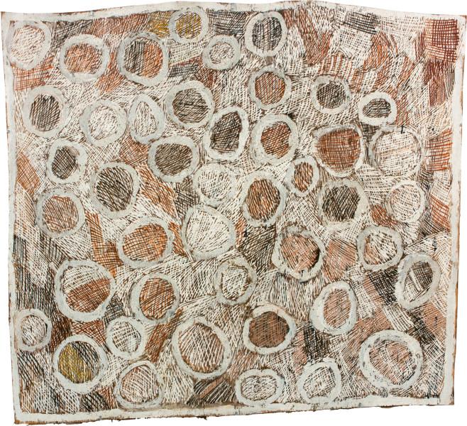 Nyapanyapa Yunupingu Coloured Circles, 2011; natural earth pigments on bark; 81 x 90 cm; enquire