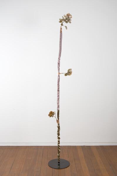Sarah  Contos Rosebush, 2017; steel, pressed roses, metallic fabric, epoxy, poly-fil, copper, thread; 240 x 30 x 30 cm; Enquire