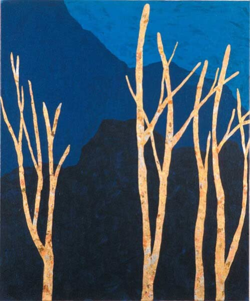 Nell Gold Trees / Blue Mountains, 2003; gold leaf & acrylic on canvas; 50.5 x 60.5 cm; enquire