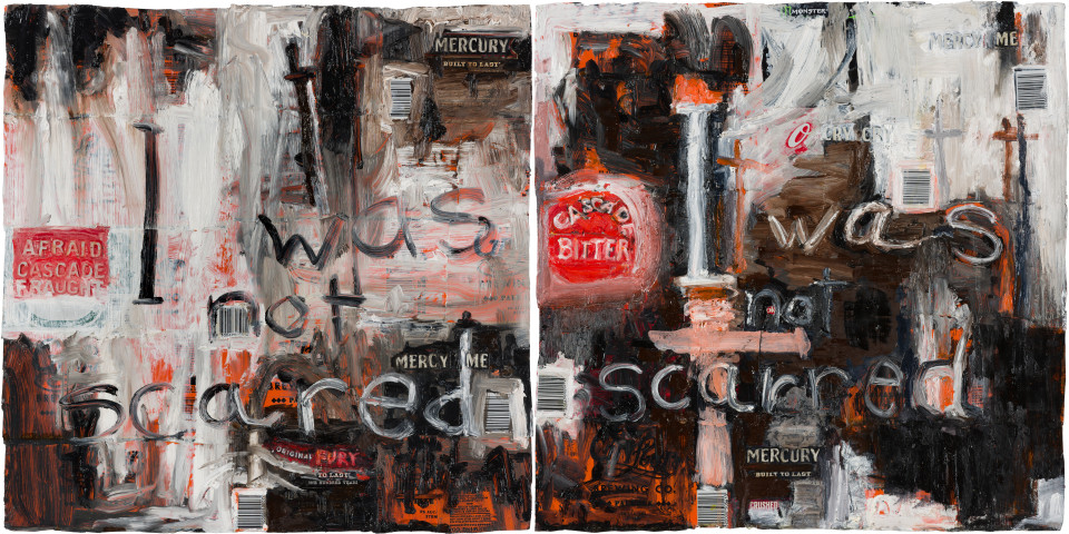 Fiona Hall i was not scared / i was not scarred, 2020; oil paint on aluminium drink cans; diptych: 46 x 94 cm overall; enquire