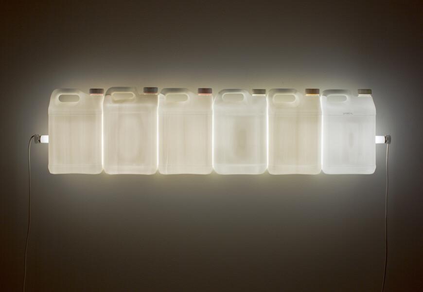 Bill Culbert Strait (White), 2015; fluorescent light, plastic bottles; 30 x 120 x 12 cm; enquire