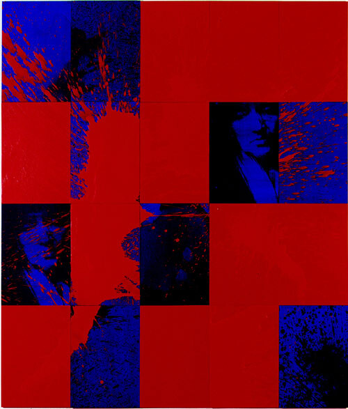 Lindy Lee High Void, 1999; Oil, acrylic, wax, photocopy, and ink on board; 166 x 147.5 cm; 20 panels; enquire