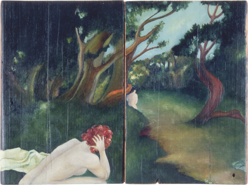 Vivienne Shark LeWitt The Elders, 1986; oil on wood; 24 x 32.5 cm; enquire