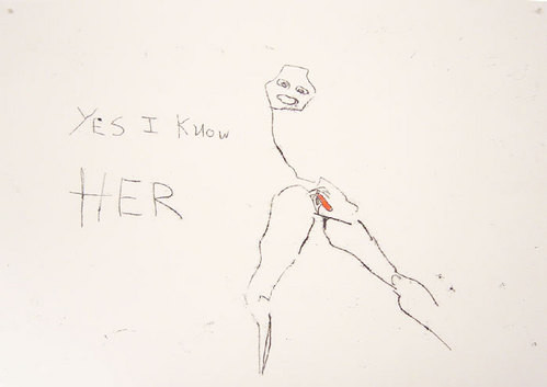 Tracey Emin Yes I know her, 2003; black and red ink on paper; 42 x 60 cm; enquire