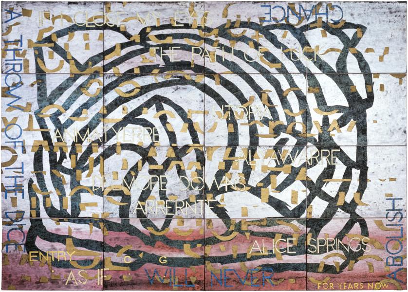Imants Tillers Nature Speaks: CG, 2009; acrylic, gouache on 16 canvasboards, no. 85872 ? 85887 ; 102 x 143 cm; enquire