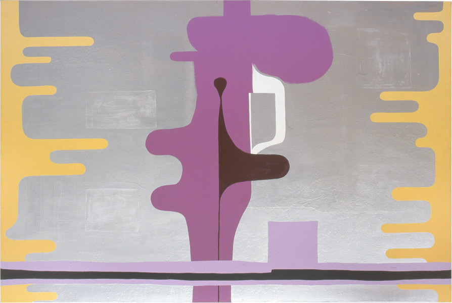 Dale Frank SOISUPPOSEAFUKS.. OUTATHEKWESTION, 2001; from the series Cat #5; acrylic paint and aluminium on canvas; 200 x 300 cm; enquire