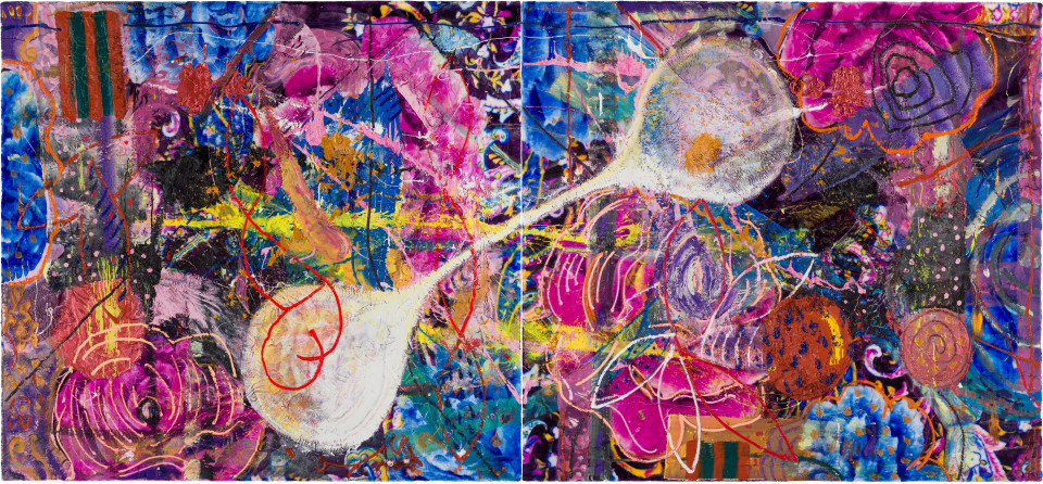 David Griggs Giovanni Domenico, 2020; acrylic, oil on fabric on canvas; diptych: 184 x 398 cm overall; Enquire