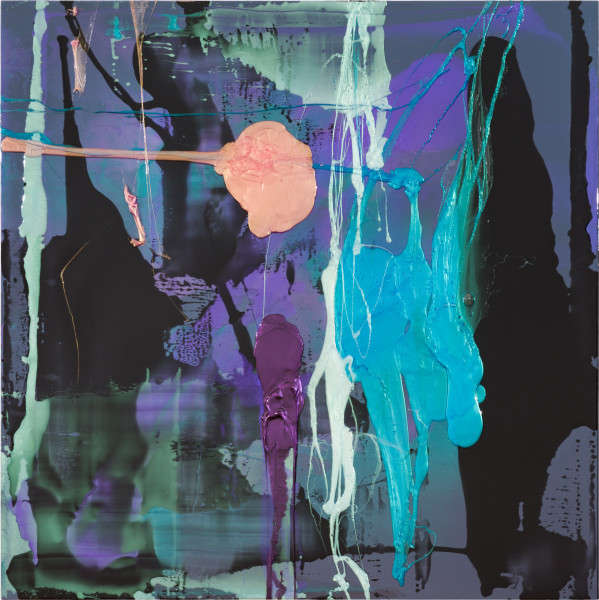 Dale Frank Jason loved nothing better than shoplifting skin colour or sheer high waist nylon laddies underwear from Big W wearing them out of the stores under his cargo pants, 2021; Colour pigment in Easycast, Epoxyglass, on Perspex; 200 x 200 cm; enquire