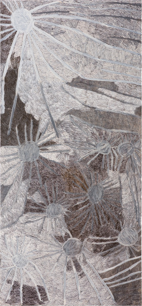 Nyapanyapa Yunupingu Ganyu, 2019; 4746-19; natural earth pigments on board; 240 x 111.5 cm; enquire