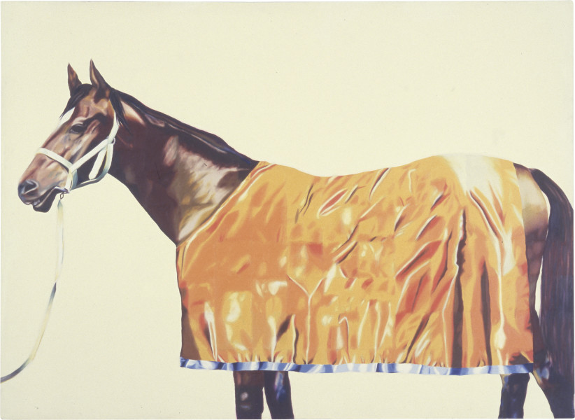 Jenny Watson Horses Series Painting No, 9: With Yellow Rug, 1973-74; oil and acrylic on canvas; 178 x 244 cm; enquire