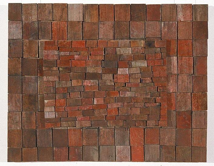 Rosalie Gascoigne Wild Strawberries, 1995; sawn wood on craftboard; 75 x 93.5 cm; enquire
