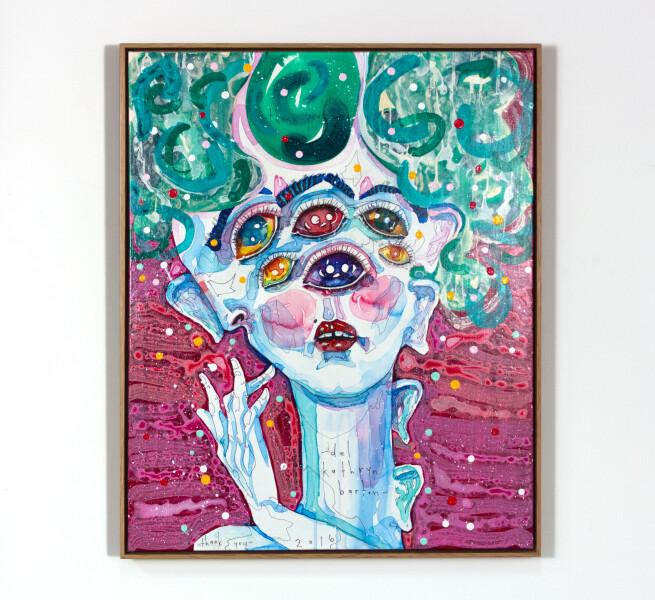 Del Kathryn Barton thank you, 2016; acrylic on french linen; 86 x 65 cm; (framed); enquire
