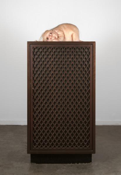 Patricia Piccinini The Listener, 2012; silicone, fibreglass, human hair, speaker; 97 x 45 x 45 cm; Edition of 6 + AP 2; enquire