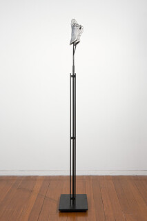 Julie Rrap Instrument: Hooting, 2015; cast aluminium and steel; 166 x 35 x 25 cm; Edition of 5 + AP 1; enquire
