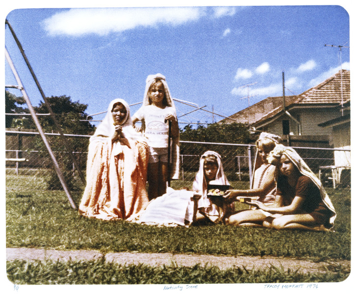 Tracey Moffatt Nativity Scene 1974, 1998; from the series Backyard Series; Off set print on Natural Snow Gum paper using light fast ink; 35.5 x 44 cm; Edition of 60; enquire